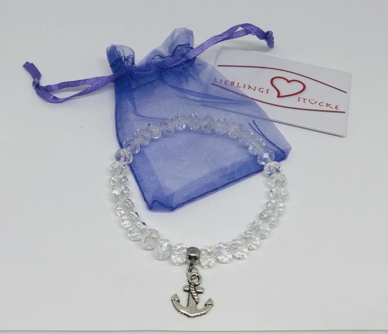 Kleinesbild - Handgemachtes Armband mit Glasfacettenperlen und Anker Anhänger ♥