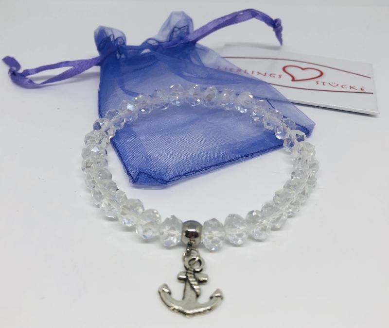 - Handgemachtes Armband mit Glasfacettenperlen und Anker Anhänger ♥ - Handgemachtes Armband mit Glasfacettenperlen und Anker Anhänger ♥