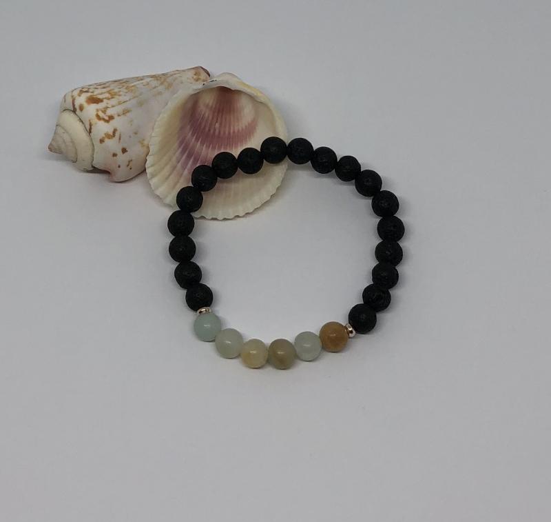Kleinesbild - Wunderschönes handgemachtes Armband mit Lava und Edelsteinperlen ♥