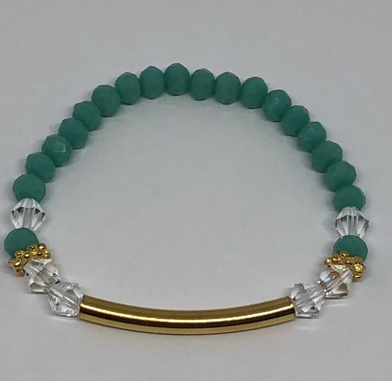 Kleinesbild - Handgefertigtes Armband mit Glasfacettenperlen Türkis ♥