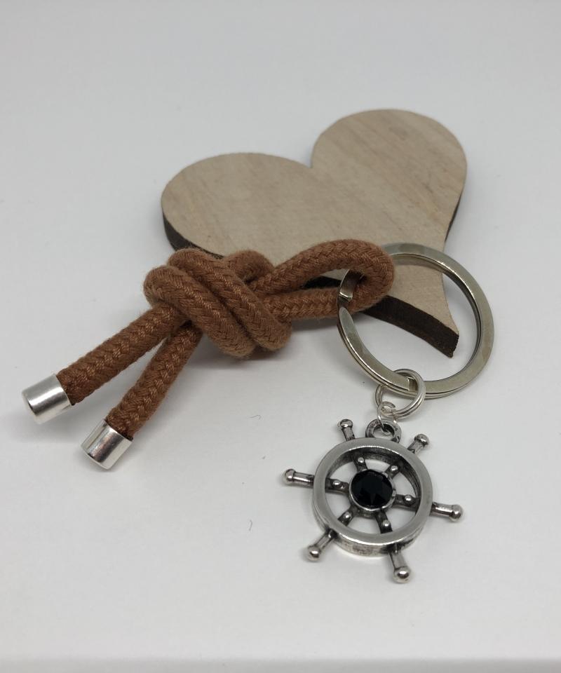 - Schlüsselanhänger Taschenanhänger aus einem Segelseil mit einem Steuerrad und einem schwarzem Chaton ♥ - Schlüsselanhänger Taschenanhänger aus einem Segelseil mit einem Steuerrad und einem schwarzem Chaton ♥