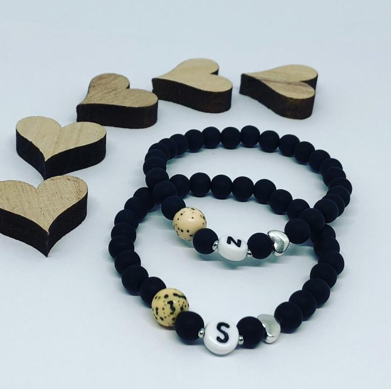 Kleinesbild - Partnerarmbänder Freundschaftsarmbänder Perlenarmbänder Schwarz Polaris Perlen im Set ♥