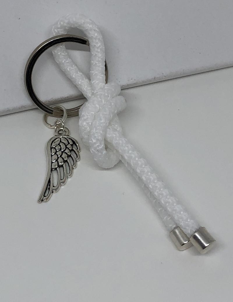 Kleinesbild - Schlüsselanhänger Taschenanhänger aus einem Segelseil mit einem Flügelanhänger EINZELSTÜCK  ♥