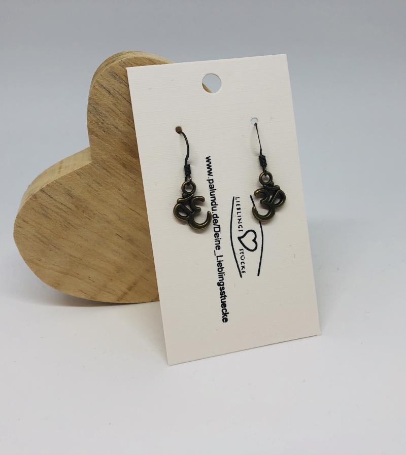 Kleinesbild - Filigrane Ohrhänger 3D Symbol bronzefarben