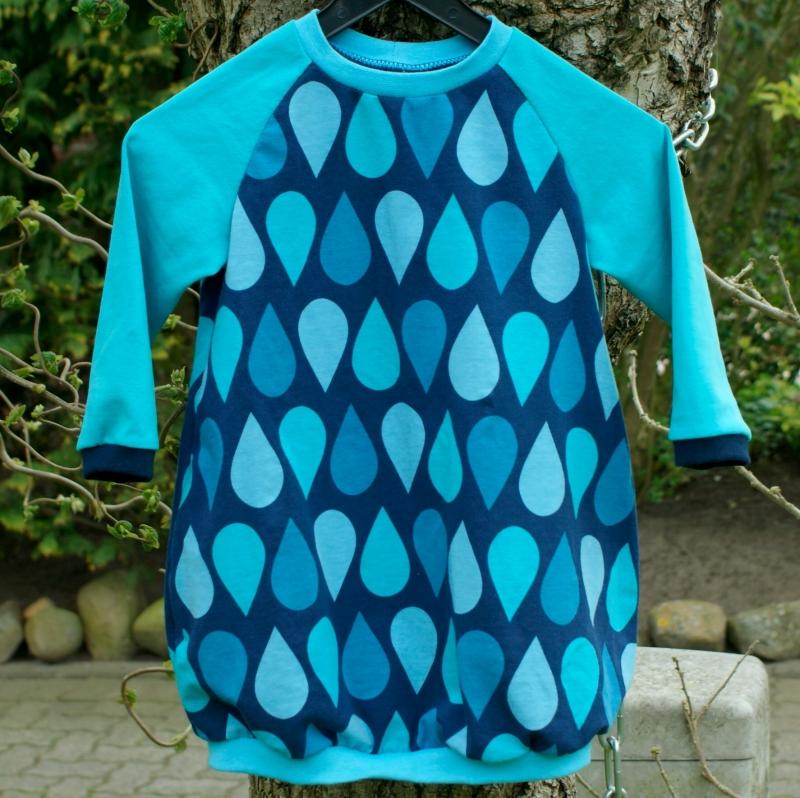 Kleinesbild - Babykleid TROPFEN Gr. 74/80 blau türkis mint Ballonkleid handgenäht