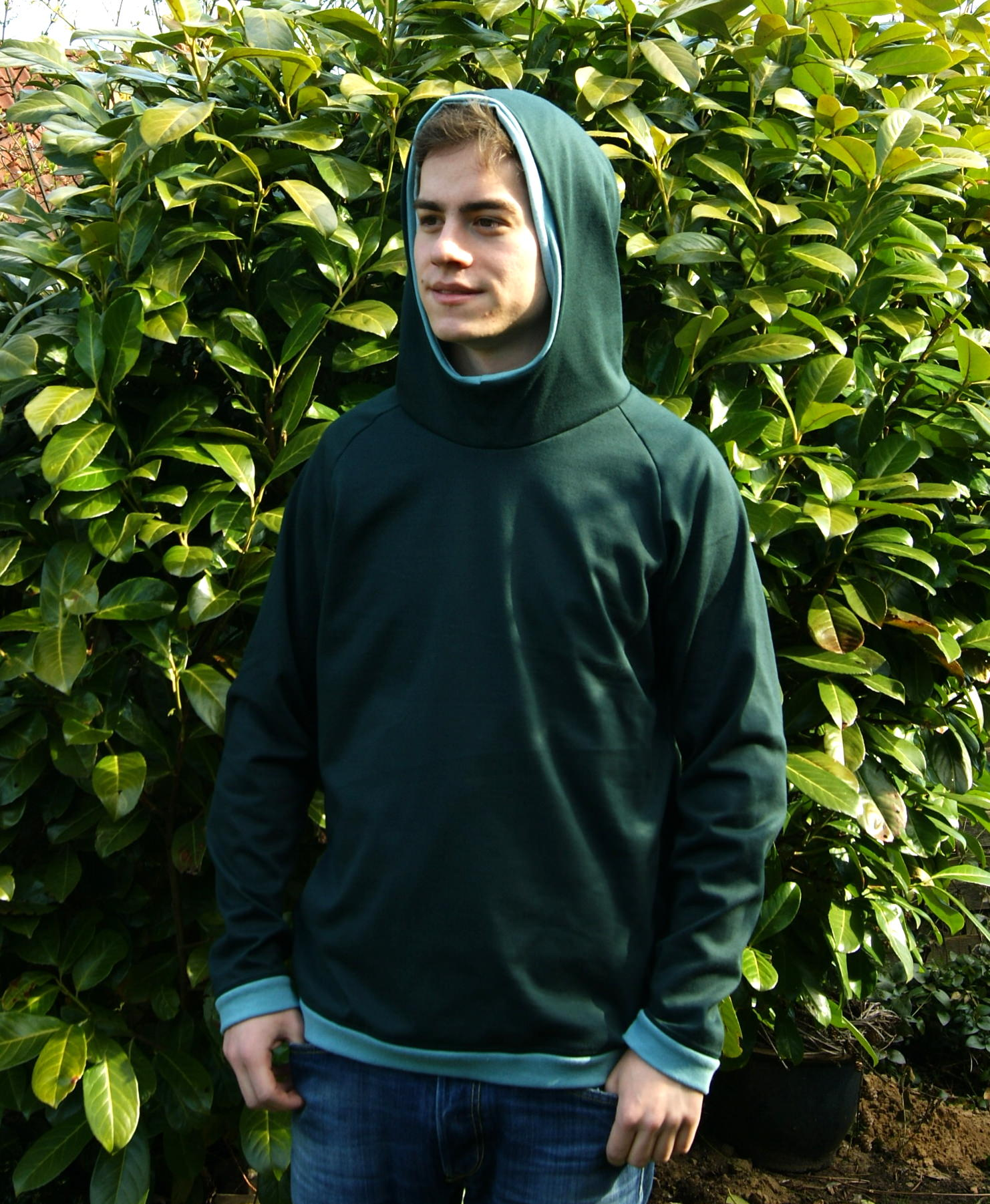 Kleinesbild - leichter Hoodie JOHN  Baumwoll-Jersey  Kapuze Gr.M dunkelgrün