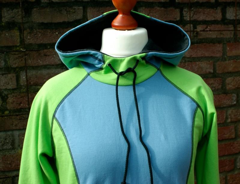 Kleinesbild -  Hoodie NORA hellgrün  Gr.40 Sweat hellgrün hellblau Longshirt Kapuze kuschelig angeraut