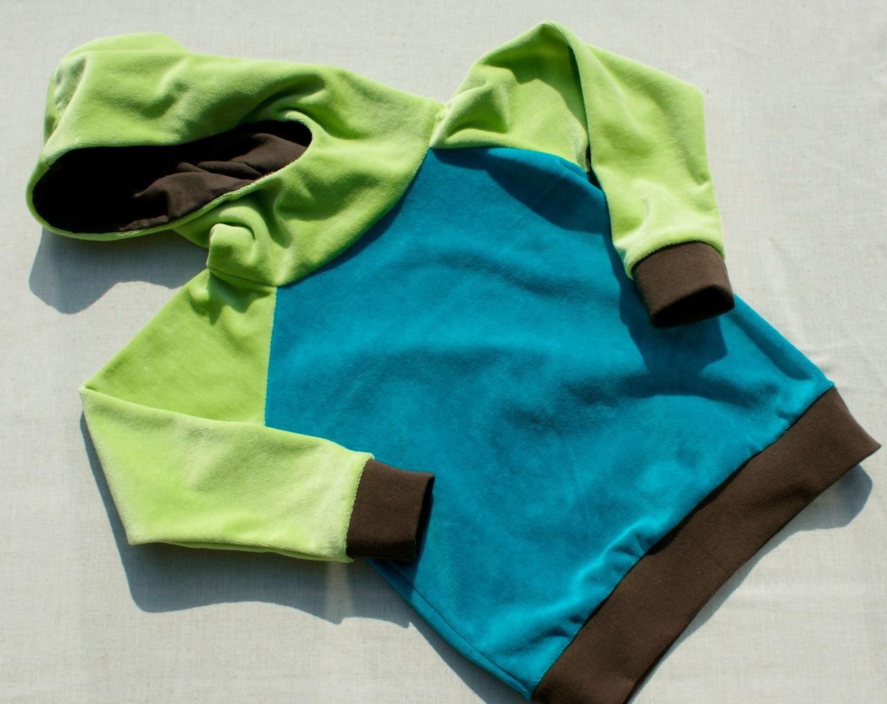 - Baby- Hoodie Nicki  Kiwi-Petrol-Braun Gr. 86/92 - Baby- Hoodie Nicki  Kiwi-Petrol-Braun Gr. 86/92