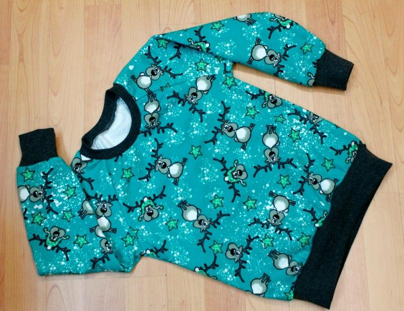 - Sweatshirt  RENTIERE  für Jungen und Mädchen Baumwollsweat mint Sterne Gr.86 bis 116 - Sweatshirt  RENTIERE  für Jungen und Mädchen Baumwollsweat mint Sterne Gr.86 bis 116