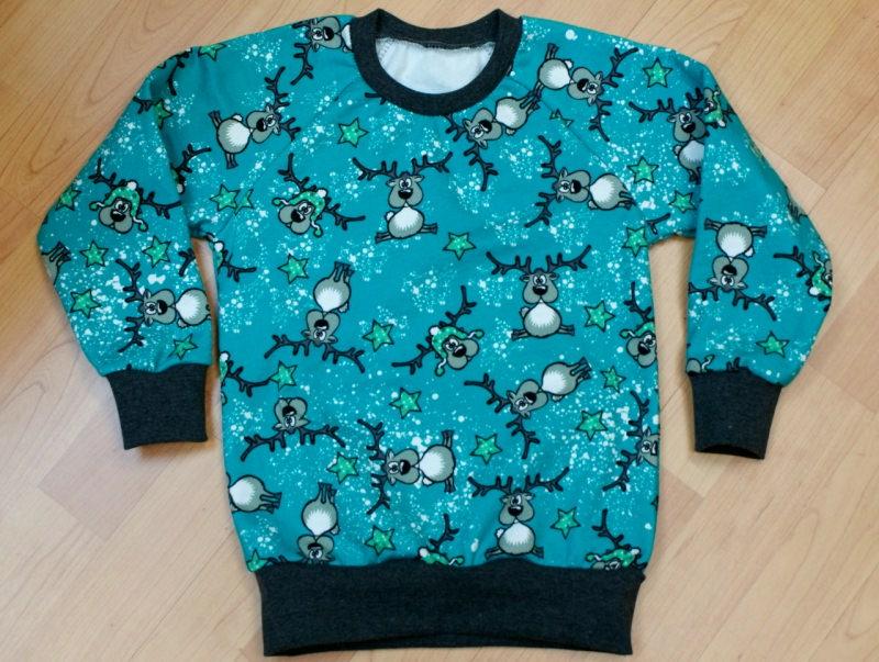 Kleinesbild - Sweatshirt  RENTIERE  für Jungen und Mädchen Baumwollsweat mint Sterne Gr.86 bis 116
