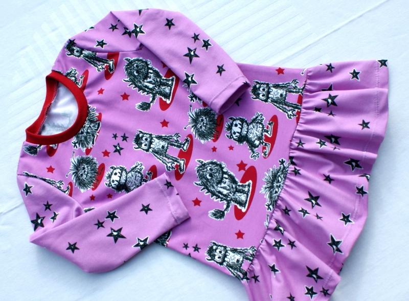 - Mädchen-Kleid MONSTER-PRINZESSIN pink Gr.104 Volant Baumwolle Jersey frech - Mädchen-Kleid MONSTER-PRINZESSIN pink Gr.104 Volant Baumwolle Jersey frech
