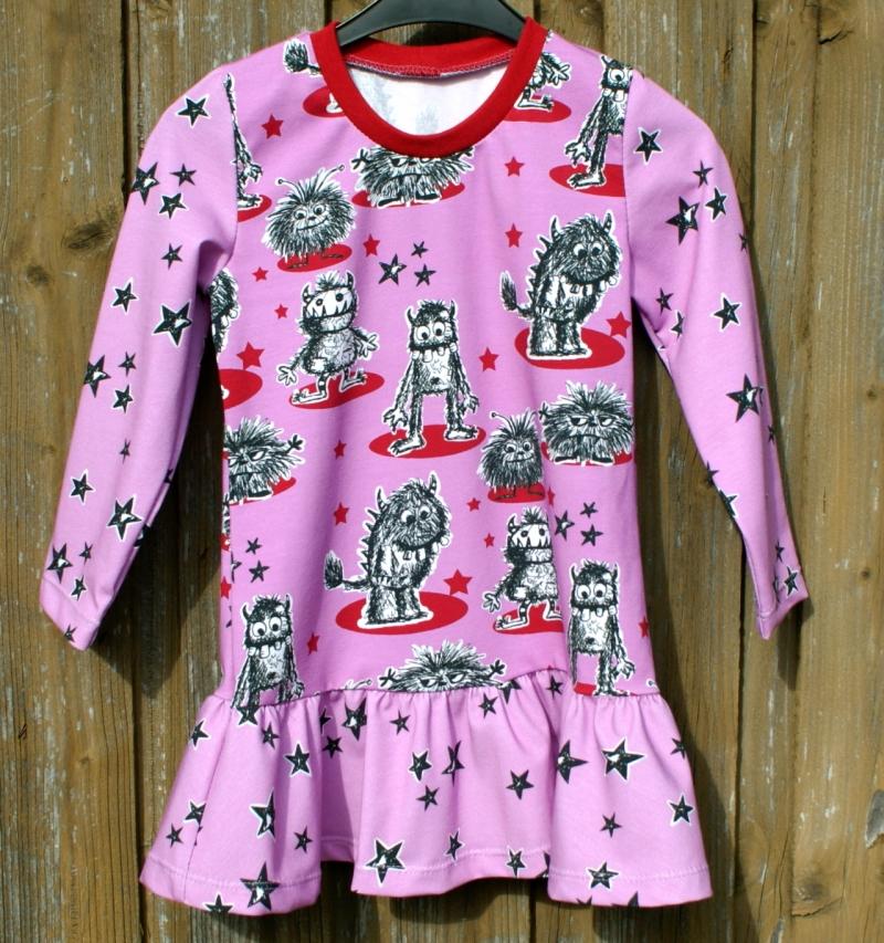 Kleinesbild - Mädchen-Kleid MONSTER-PRINZESSIN pink Gr.104 Volant Baumwolle Jersey frech