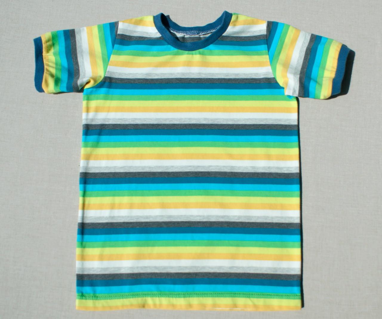 Kleinesbild - Kinder-Shirt EINHORN-Streifen Bio-Baumwolle GOTS Gr.122/128
