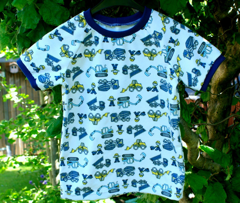 Kleinesbild - Shirt BAUMEISTER  für Jungen Gr. 80/86 weiß bunt Fahrzeug Baumwolle Jersey