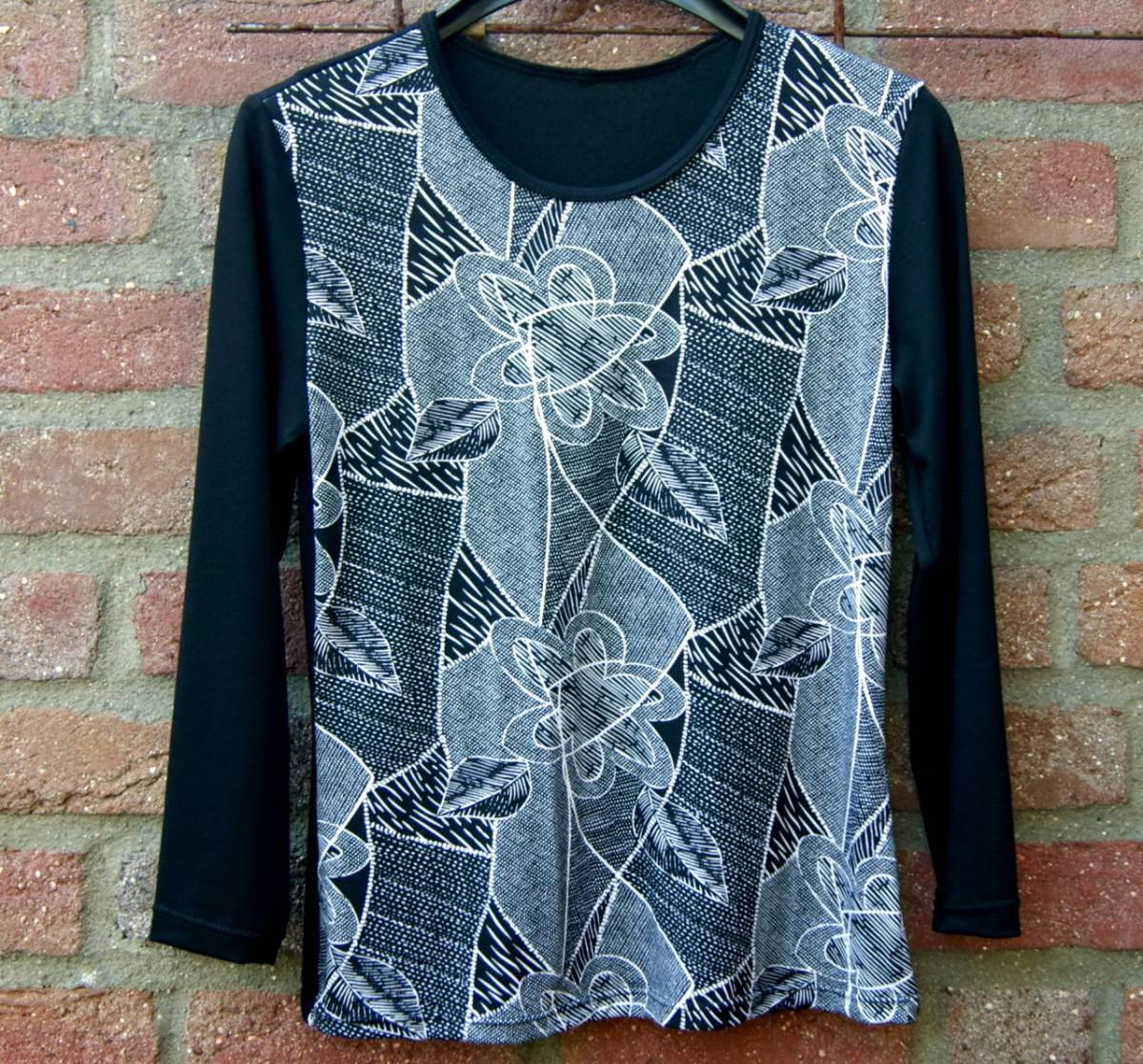 Kleinesbild - Shirt  NETZWERK schwarz-weiß  Gr. M, L Viskose 3/4 Arm Einzelstück