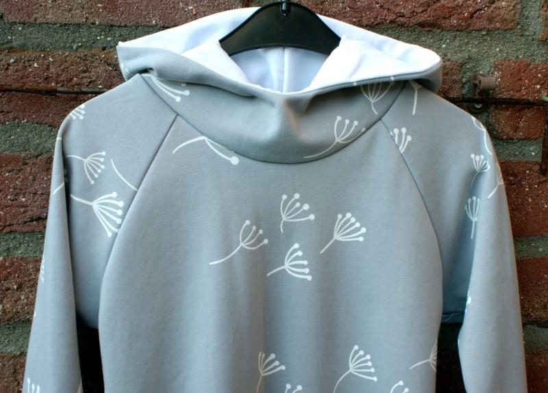 Kleinesbild - Hoodie PUSTEBLUME hellgrau Ökotex Gr.116 Mädchen Baumwolle Interlock Kapuze