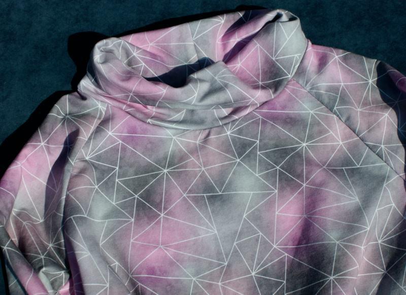 Kleinesbild - Longshirt AQUARELL Sommersweat grau rosa L Schalkragen Baumwolle weich Ökotex Standard 100 lässig bequem