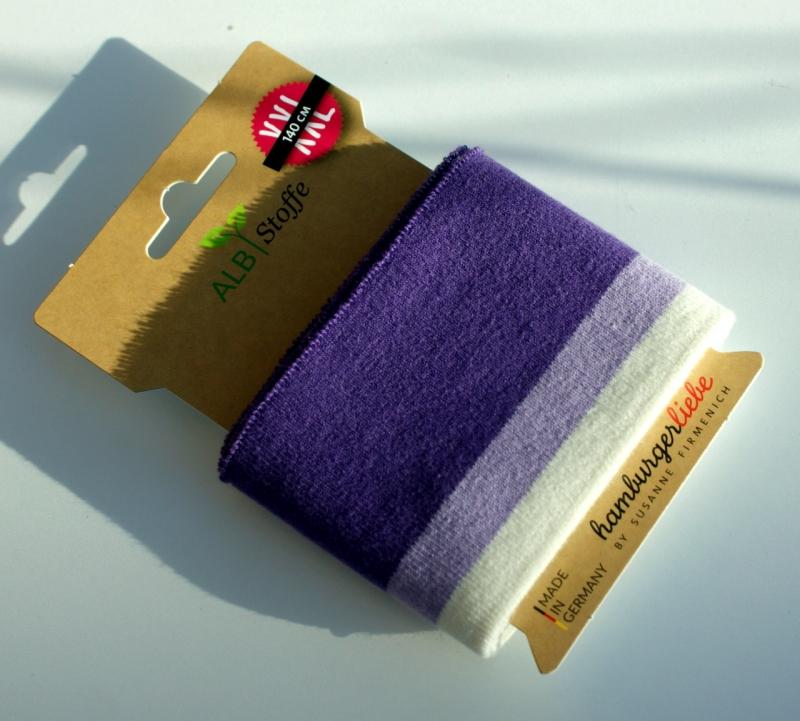 Kleinesbild - cuff me Fertigbündchen LILA Streifen Bio-Baumwolle GOTS-zertifiziert
