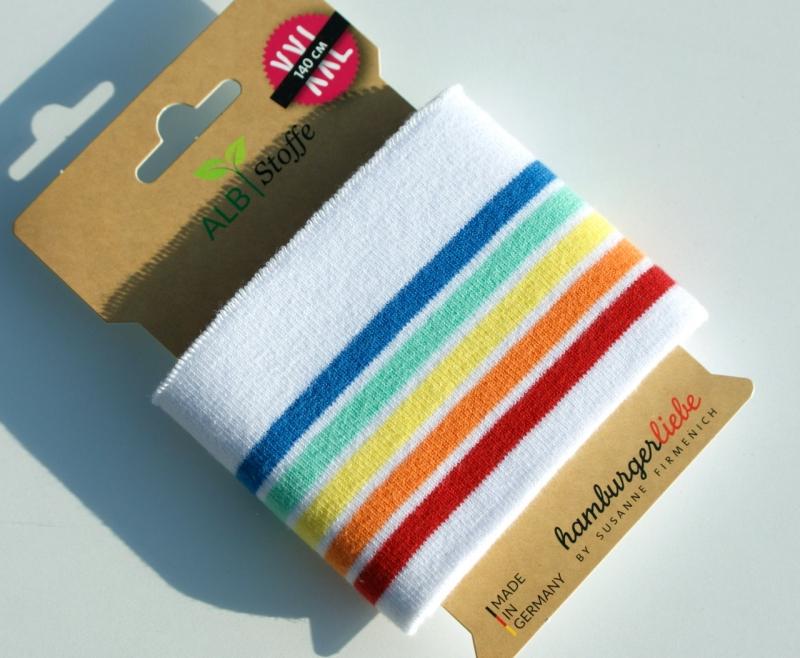 Kleinesbild - cuff me Fertigbündchen WEISS bunte Streifen Bio-Baumwolle GOTS-zertifiziert