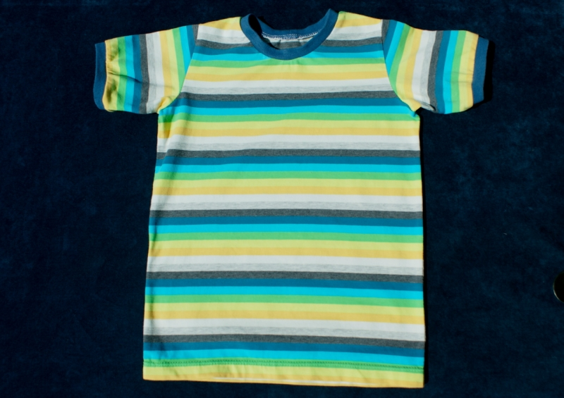 - Kinder-Shirt EINHORN-Streifen Bio-Baumwolle GOTS Gr.122/128  - Kinder-Shirt EINHORN-Streifen Bio-Baumwolle GOTS Gr.122/128