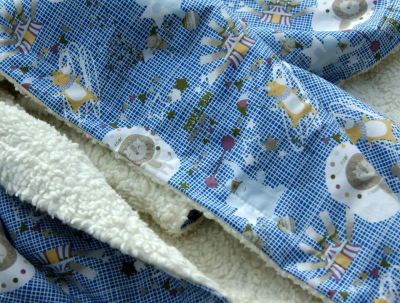 - Kuscheldecke ZIRKUS B-Ware Baumwolle Teddy Babydecke  blau weiß - Kuscheldecke ZIRKUS B-Ware Baumwolle Teddy Babydecke  blau weiß