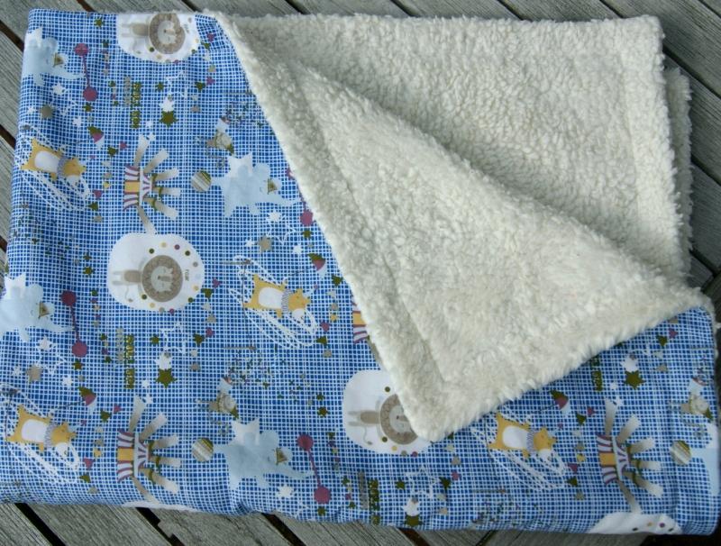 Kleinesbild - Kuscheldecke ZIRKUS B-Ware Baumwolle Teddy Babydecke  blau weiß