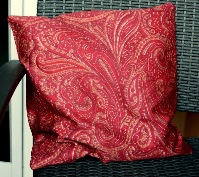 Kleinesbild - Kissenbezug NOSTALGIE rot beige 40x40 cm Bassetti-Stoff Reißverschluss Baumwolle Satin