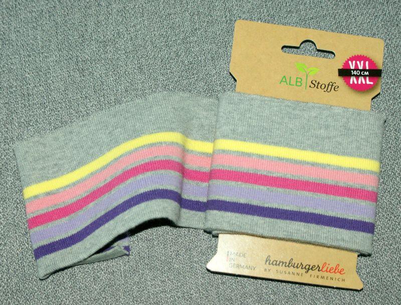 Kleinesbild - cuff me Fertigbündchen GRAU BUNT Streifen Bio-Baumwolle GOTS-zertifiziert