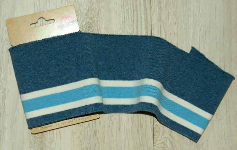Kleinesbild - cuff me bold Fertigbündchen JEANSBLAU WEISS TÜRKIS Streifen Bio-Baumwolle GOTS-zertifiziert
