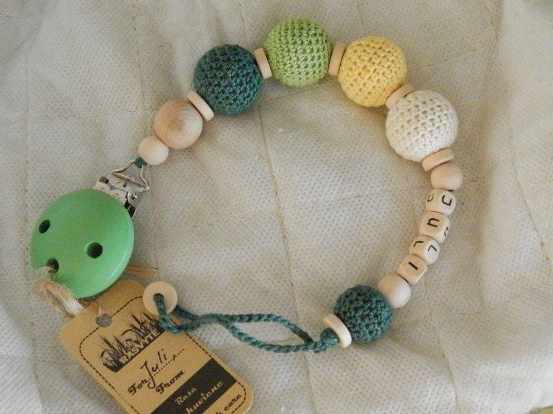 Babyartikel Personalisierte Häkeln Baby Schnullerkette Grün Gelb