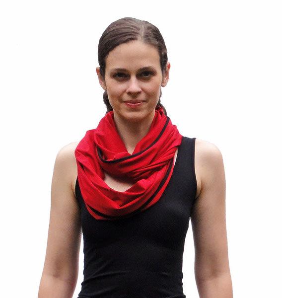 - Schal der vielen Möglichkeiten No. 3 kontrastfarbig eingefasst - Schal der vielen Möglichkeiten No. 3 kontrastfarbig eingefasst