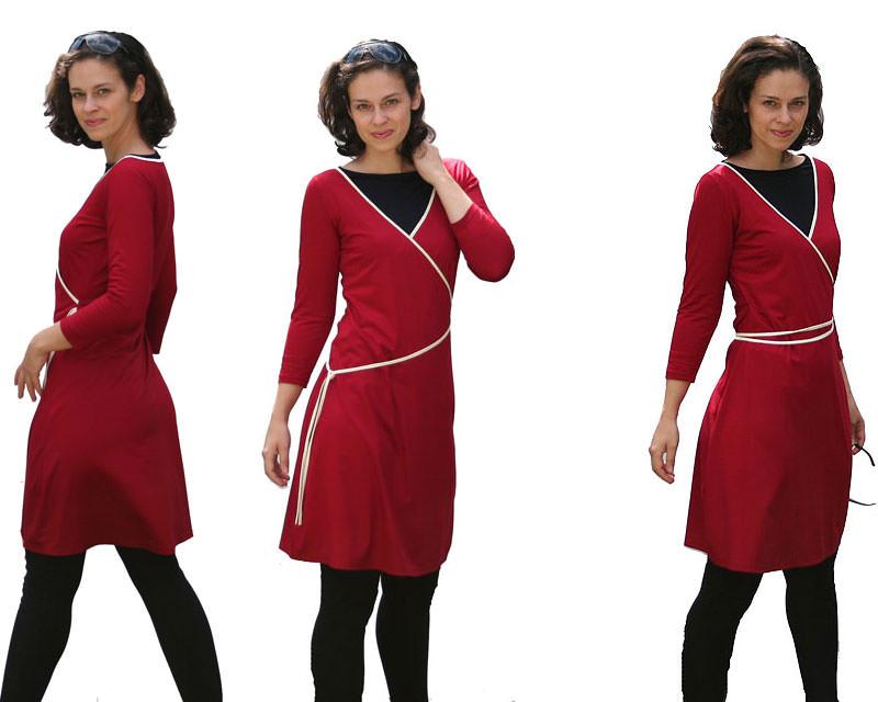 Kleinesbild - Wickelstylekleid mit Dreiviertelarm von VARIO-SHIRTS