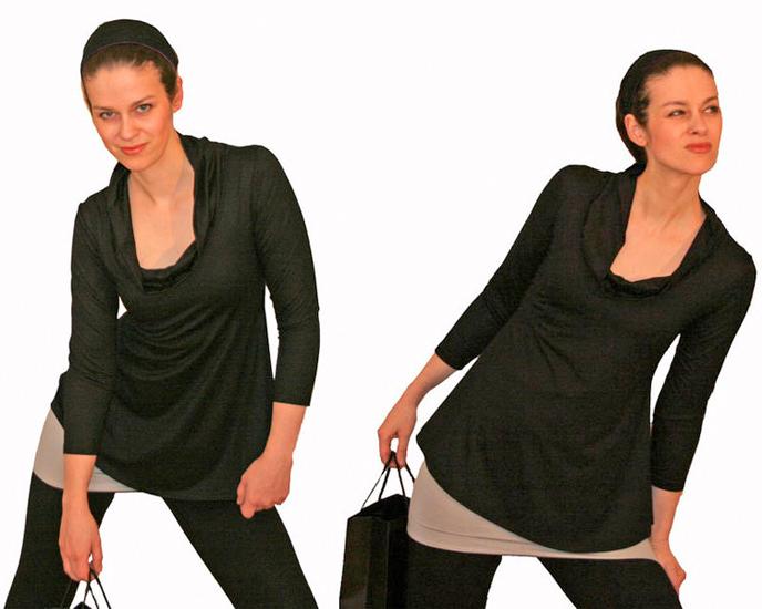 - Tunika Shirt mit Sexy-C-Rolli-Ausschnitt und 3/4 Arm, Länge 65 cm  - Tunika Shirt mit Sexy-C-Rolli-Ausschnitt und 3/4 Arm, Länge 65 cm