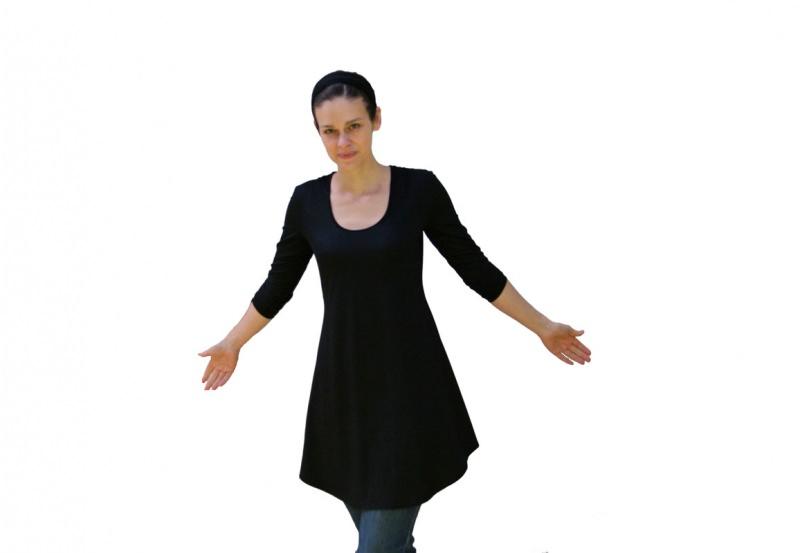 - Tunika-Mini-Kleid Deep-C mit 3/4 Ärmeln LG85 aus Viskosejersey Handmade in Brandenburg - Tunika-Mini-Kleid Deep-C mit 3/4 Ärmeln LG85 aus Viskosejersey Handmade in Brandenburg