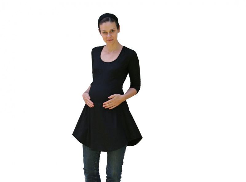 Kleinesbild - Tunika-Mini-Kleid Deep-C mit 3/4 Ärmeln LG85 aus Viskosejersey Handmade in Brandenburg