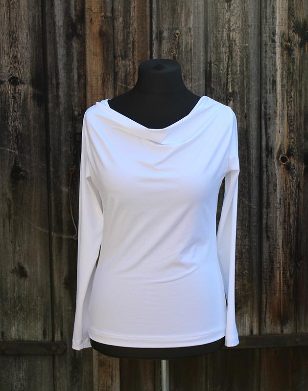 Kleinesbild - Shirt mit Wasserfallausschnitt und langen Ärmeln