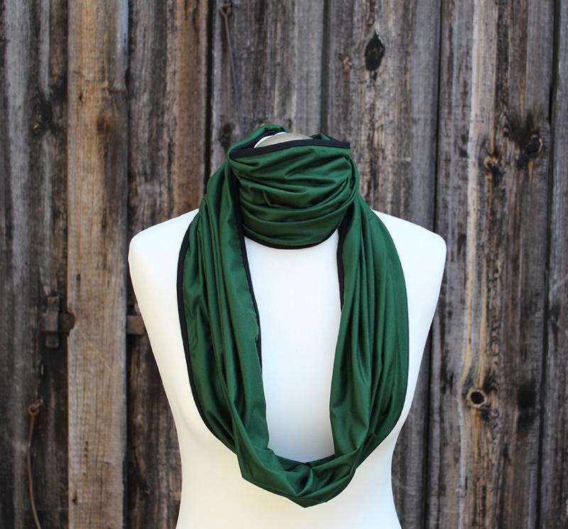 Kleinesbild - Schal der vielen Möglichkeiten No. 3 kontrastfarbig eingefasst in grün mit schwarz