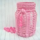 - Windlicht, Teelicht, Laterne, rosa / pink, Vintage, Shabby-Look, gehäkelt - Windlicht, Teelicht, Laterne, rosa / pink, Vintage, Shabby-Look, gehäkelt
