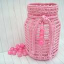 Kleinesbild - Windlicht, Teelicht, Laterne, rosa / pink, Vintage, Shabby-Look, gehäkelt