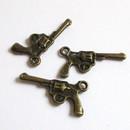 Kleinesbild - Anhänger Revolver, Pistole, Colt bronzefarben