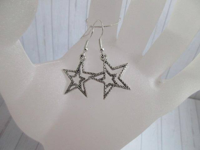 Kleinesbild - Ohrringe, Stars silberfarben, 1 Paar (Ohrhaken versilbert)