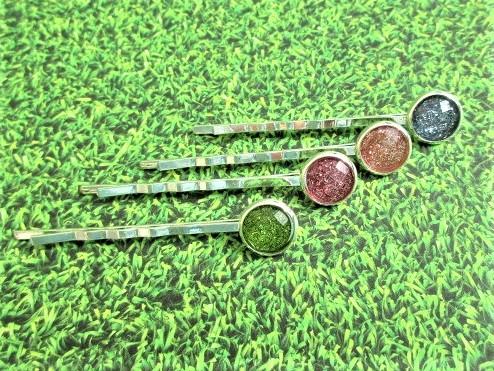 Kleinesbild - Haarklemme Pastell, Glitzer, fröhlich, stabil Länge 6cm / Cabochon 10/12mm