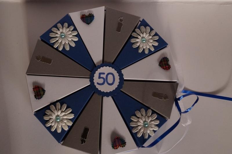 76 Geldgeschenk, Geschenkverpackung aus 300g Tonpapier zum 50.Geburtstag ,  Tolle Torte zum Geburtstag