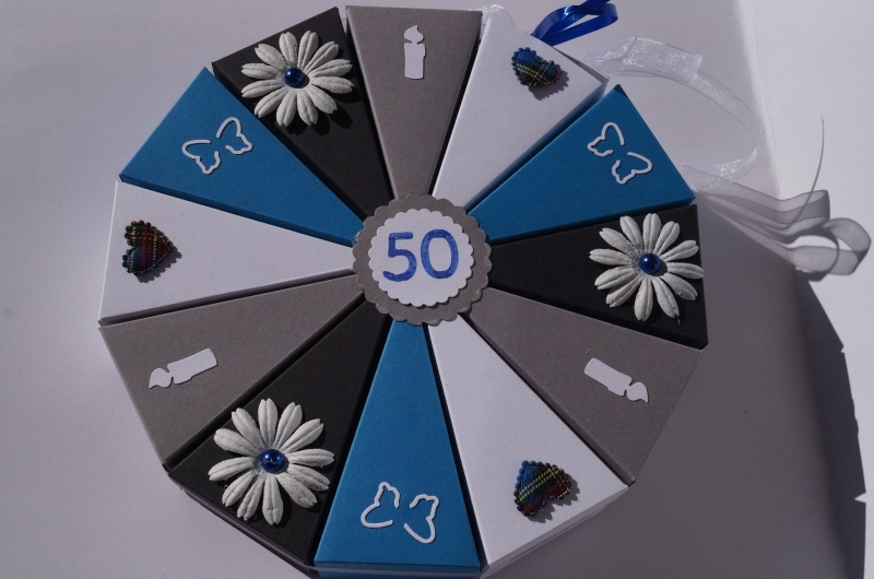 73 Geldgeschenk, Geschenkverpackung aus 300g Tonpapier zum 50. Geburtstag ,  Tolle Torte zum Geburtstag