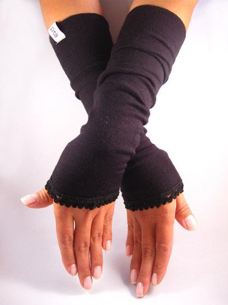 - Handgemachte Stulpen, Armstulpen, Pulswärmer, schwarz Rüsche - Handgemachte Stulpen, Armstulpen, Pulswärmer, schwarz Rüsche