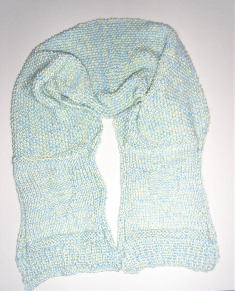 Schals : Schal gestrickt in hellblau-pastellgelb mit Perlmuster und ...