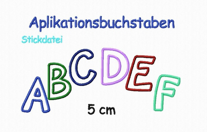 - Stickdatei Applikationsbuchstaben 5 cm  - Stickdatei Applikationsbuchstaben 5 cm