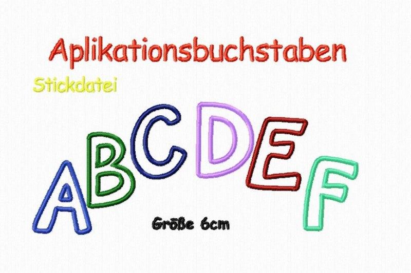 - Stickdatei Applikationsbuchstaben 6 cm - Stickdatei Applikationsbuchstaben 6 cm
