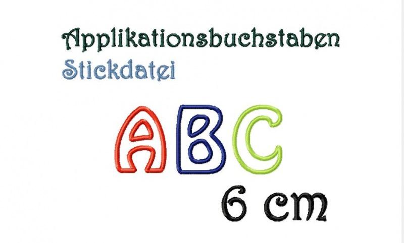- Stickdatei Applikationsbuchstaben1 6 cm - Stickdatei Applikationsbuchstaben1 6 cm