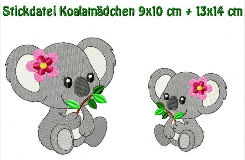 - Stickdatei, Koalamädchen 9x10 + 13x14 cm zum besticken von Handtüchern, TShirts   - Stickdatei, Koalamädchen 9x10 + 13x14 cm zum besticken von Handtüchern, TShirts